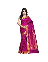Janasya Women Colour-Purple Kanjivaram Art Silk Saree