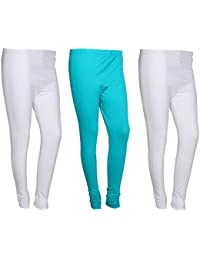 IndiWeaves Women Cotton Legging Comfortable Stylish Churidar Full Length Women Leggings-White/Turquoise-Free Size-Pack...