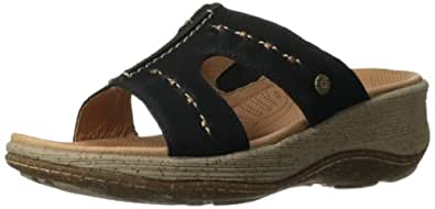 ACRON Women's Vista Slide Wedge Sandal,Black,6 M US