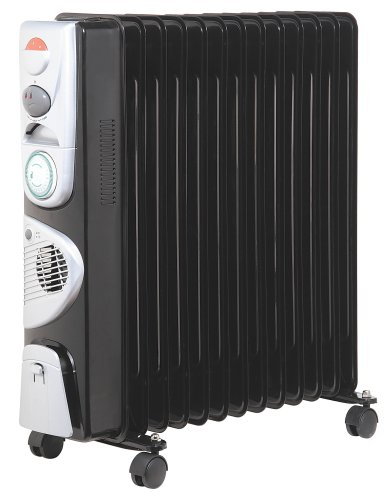 2.5kw Black Oil Filled Radiator with Turbo Fan & Timer