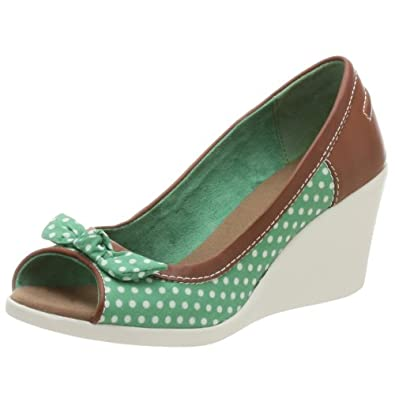 BC Footwear Women's Hollywood Ending Open Toe Wedge,Green,8 M