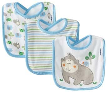 Gerber Baby-Boys Newborn 3 Pack Terry Gorilla Dribbler Bib, Gorilla Blue, One Size