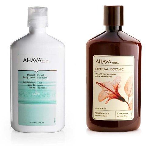 Ahava Mineral Body Lotion and Hibiscus & Fig Mineral Botanic Velvet Cream Body Wash Set, 17-Ounces each
