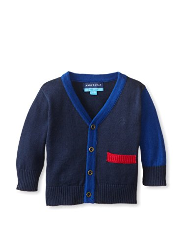 Andy & Evan Baby-Boys Infant Navy Color Blocked Cardigan, Navy, 12-18 Months