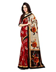Inddus Women Red & Beige Color Art Silk Fashion Saree