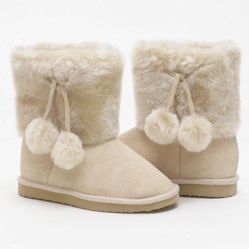 Lamo Girls 1 Tan Suede Sheepskin Lined Pom Pom Girls Boot