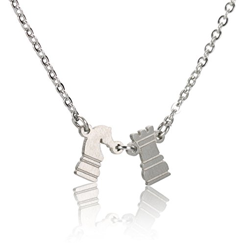 Chess Piece Rook & Knight Necklace