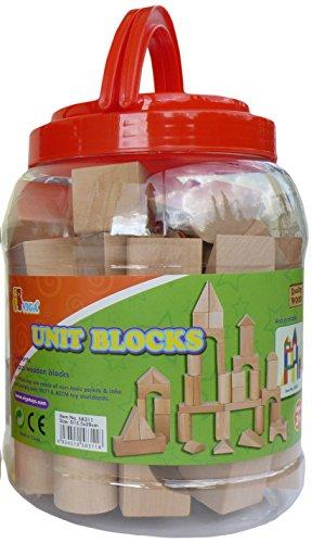 VIGA 45 Holzbauklötze im stabilen Behälter