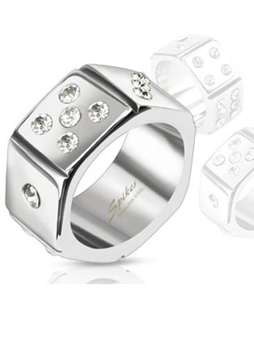 Stainless Steel Hexagon Dice Design Comfort-Fit Band Ring With Clear Simulated Diamonds, Width 10.5Mm - Crazy2Shop