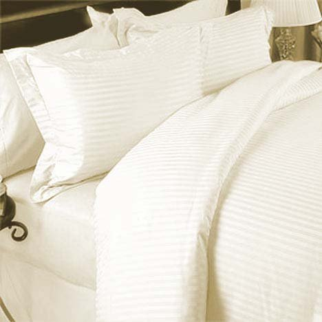 Marrikas 1500 Class Microfiber Twin Extra Long Striped Ivory Sheet Set front-281006