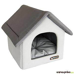 Topzoo couchage pour chien petite maison confettis gris for Alimentation maison pour chien