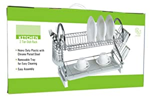 """25 1/2""""- 2 TIER CHROME PLATED STEEL DISH RACK WITH REMOVEABLE TRAY"""