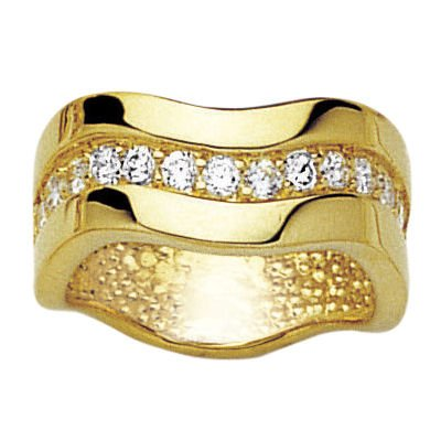 18K Gold Plated Clear Cubic Zirconia Wave Band Ring - Size K