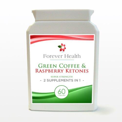 Grano De Café Verde + Cetonas De Frambuesa Green Coffee Bean Extract 5000mg PLUS Raspberry Ketone 200mg - 2 Productos En Una Cápsula - Para Adelgazar Perder Peso Delgado Quemar Grasas Dieta - 60 Pastillas