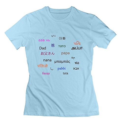 XJ-cool padre In molti tipi di Langues motivo: tee da golf da donna, colore: celeste azzurro XL