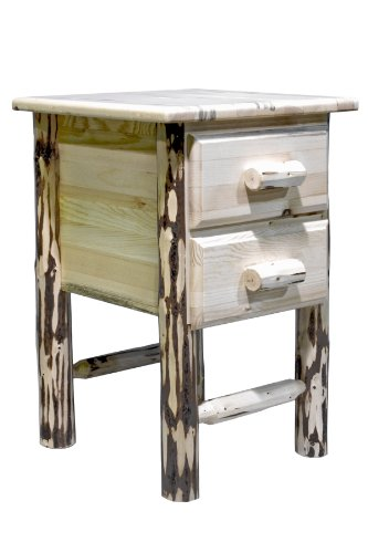 Montana Woodworks Montana Collection 2-Drawer Nightstand/End Table, Clear Lacquer Finish