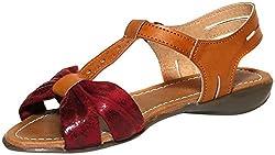 Craze Shop Womens Maroon Artificial Leather Flats - 7 UK