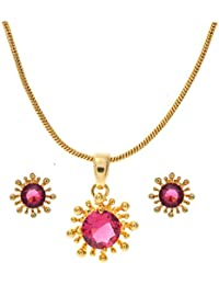OM Gold Brass Pendant Set For Women (OM_PE2)