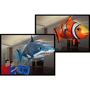 William Mark Air Swimmer Remote Control Inflatable Floating Shark & Clown Fish Bundle