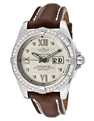 Men's Windrider Automatic/Mechanical White Diamond Silver Dial Brown Genuine Leather