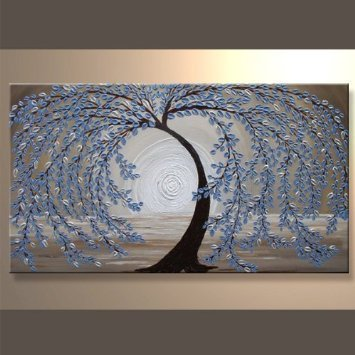 Wieco Art - Blue leaves 100% Hand-painted Modern Canvas Wall Art Floral Oil Paintings on Canvas for Home Decoration, Stretched and Framed, Ready to Hang artistic home gallery 3636638s abulia by nancy santos premium stretched oversize canvas wall art