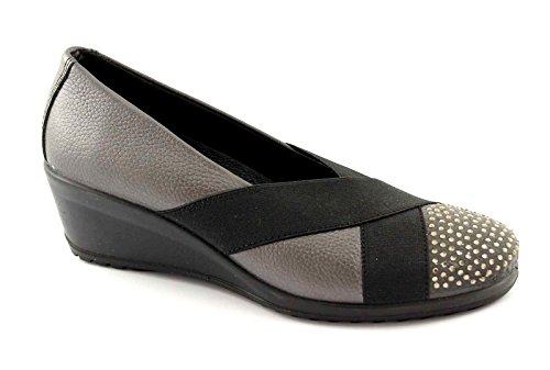 ENVAL SOFT 49511 grigio ballerine donna suola gomma flessibile pelle brillantini elastico 42