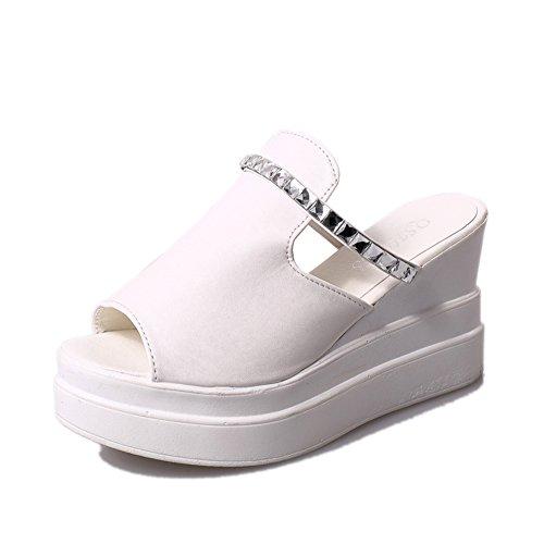 Ms. crosta spessa focaccina pantofole/Alto con sandali e ciabatte diamante/parola di resistenza impermeabile-B Lunghezza piede=23.3CM(9.2Inch)