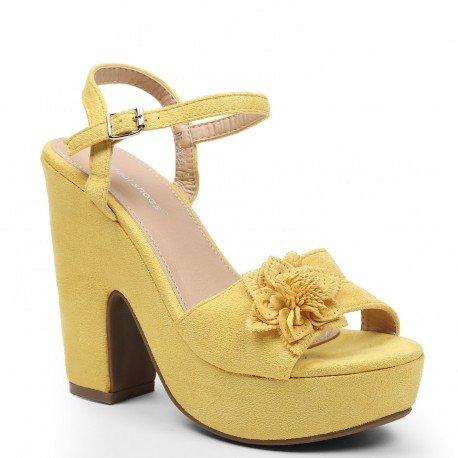Ideal-Shoes Sandali con piattaforma, effetto pelle scamosciata e decorate con un fiore Tahys, Giallo (giallo), 38