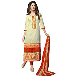 Cotton jacquard cream churidar unstitched embroidered dress