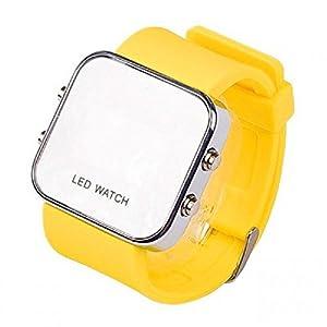 AIO style de sport de luxe LED Digital Mirror Watch - jaune