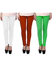 Snoogg Womens Ethnic Chic Inspired Churidar Leggings In White, Brown And Green