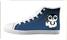 Renben Nonslip Cartoon?Penguin Kids Boy\'s Canvas Shoes Lace-up High-top Sneakers Fashion Running Shoes