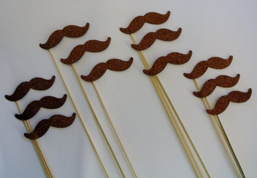 12 Pc Mustache on a Stick Photo Booth Props Brown Glitter Foamy Mustache Bash Pringle Wedding Photo Booth Party Favor and Props