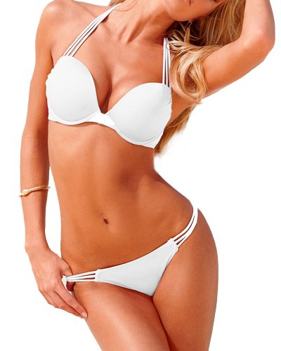 Bikini da donna, con Push up, Bianco (bianco), M