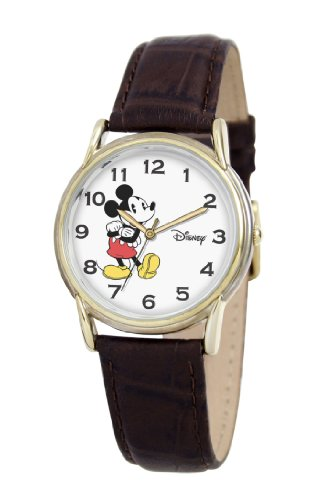 Disney Men's D060S003 Mickey Mouse Brown Leather Strap Watch