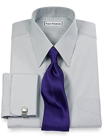 Paul fredrick men 39 s 2 ply cotton european straight collar Straight collar dress shirt