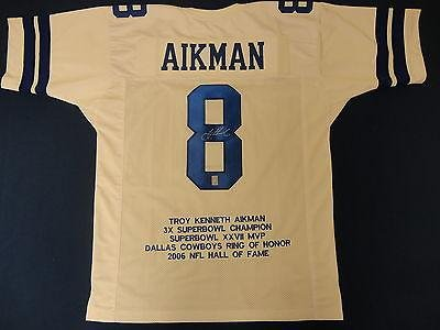 Troy Aikman Autographed Jersey - Replica Stat Hologram - Autographed NFL Jerseys at Amazon.com