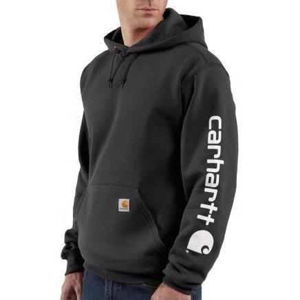 Carhartt Midweight Signature Sleeve Logo Hooded Sweatshirt Black M,L,XL,XXL Mens