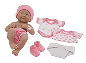 "La Newborn Nursery 8 Piece Layette Baby Doll Gift Set, featuring 14"" Life-Like Smiling Newborn Doll, Pink"