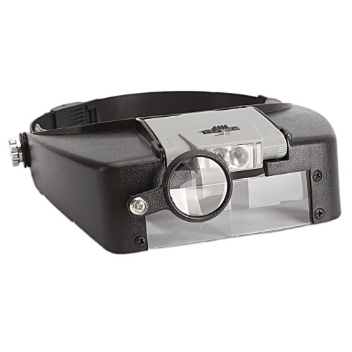2 Led Lighted Glass Head Headband Magnifier Magnifying Loupe Lens Visor Watch Repair Light 10X Magnification