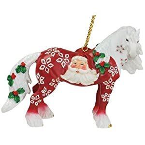 """Horse of a Different Color SANTA CLAUS Clydesdale 2.5"""" Hanging Ornament"""