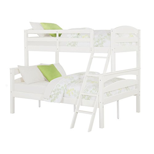 Dorel Living Brady Twin over Full Solid Wood Kid's Bunk Bed with Ladder, White - Color: White - Size: Full (Kids Full Beds compare prices)