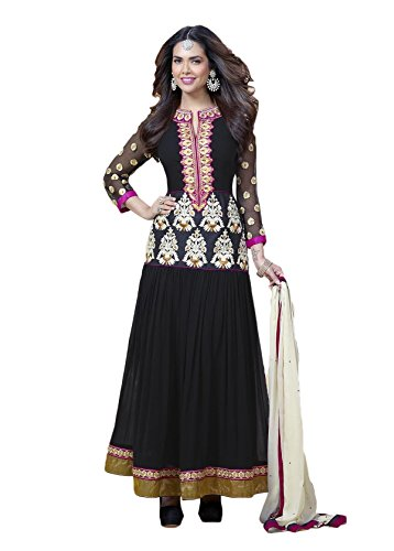 Adah Fashions Womens Georgette Anarkali Dress Material (574-1809 -Black -Free Size)