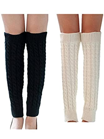 Fashion Ribbed Cable Knit Trimmed Soft Footless leg Warmers (2 Pk(White + Black))