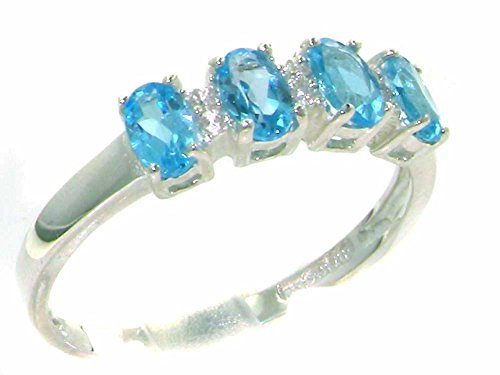 Silver Blue Topaz Diamond Eternity Anniversary Womens Wedding Ring - Size 5.75 - Sizes 4 To 12 Available