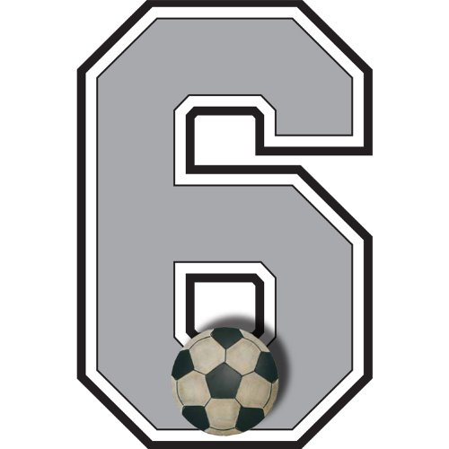 """6"" Soccer Ball Jersey Number Varsity Uniform Wall Sticker. Decal Numbers For Children'S, Nursery & Baby'S Sport Room Decor, Baby Wall Team Number Stickers, Boys Bedroom Wall Sports Decorations. Sports Balls Mural Walls Decals Baby Shower front-989437"