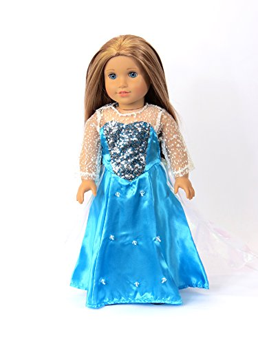 18 Inch Doll Clothes - Princess Elsa Frozen Inspired Dress American Girl Dolls, Stunning Snowflake Sparkle, Handmade Long Sleeves And Veil, Exquisitely, Outfit Costume Gown *DOLL IS NOT (Indian Dance Costumes And Accessories)