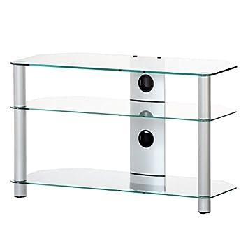 NEO 390-TG - Mueble de TV con 3 estantes y 90 cms de ancho. Vidrio Transparente / Chasis gris.