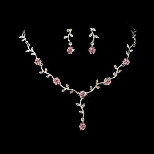 Silver Pink Floral Rhinestone Crystal Bridal Wedding Necklace Earring Set
