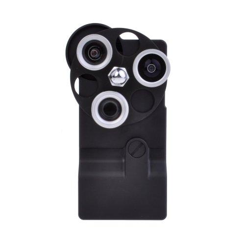 Neewer Aluminum Dial Case 4 in 1 Wide + Macro + Fisheye + Telephoto Camera Lens Kit for iPhone 5